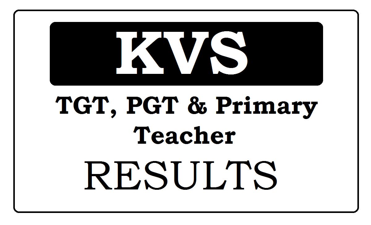 KVS Results 2021 for TGT, PGT & Primary Teacher