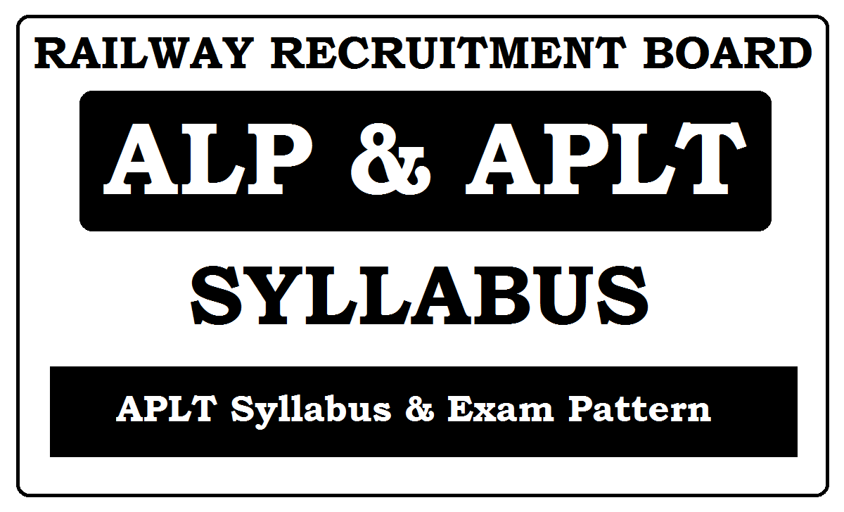 RRB ALP & APLT Syllabus 2021 Exam Pattern