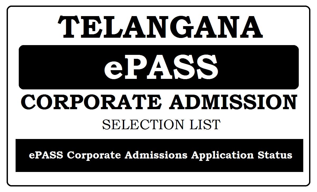 Telangana ePASS Corporate Admissions 2021