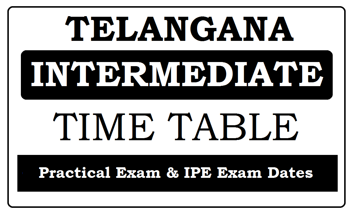 TS Intermediate Time Table 2021