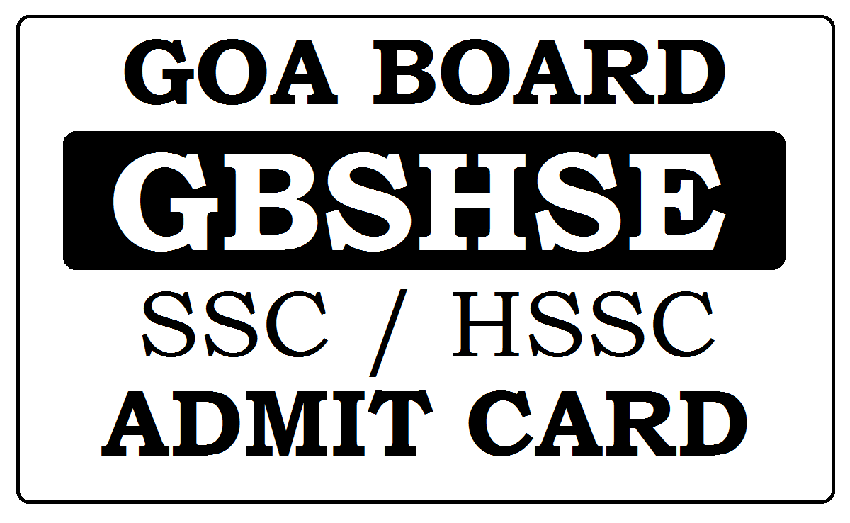 Goa SSC Admit Card 2020