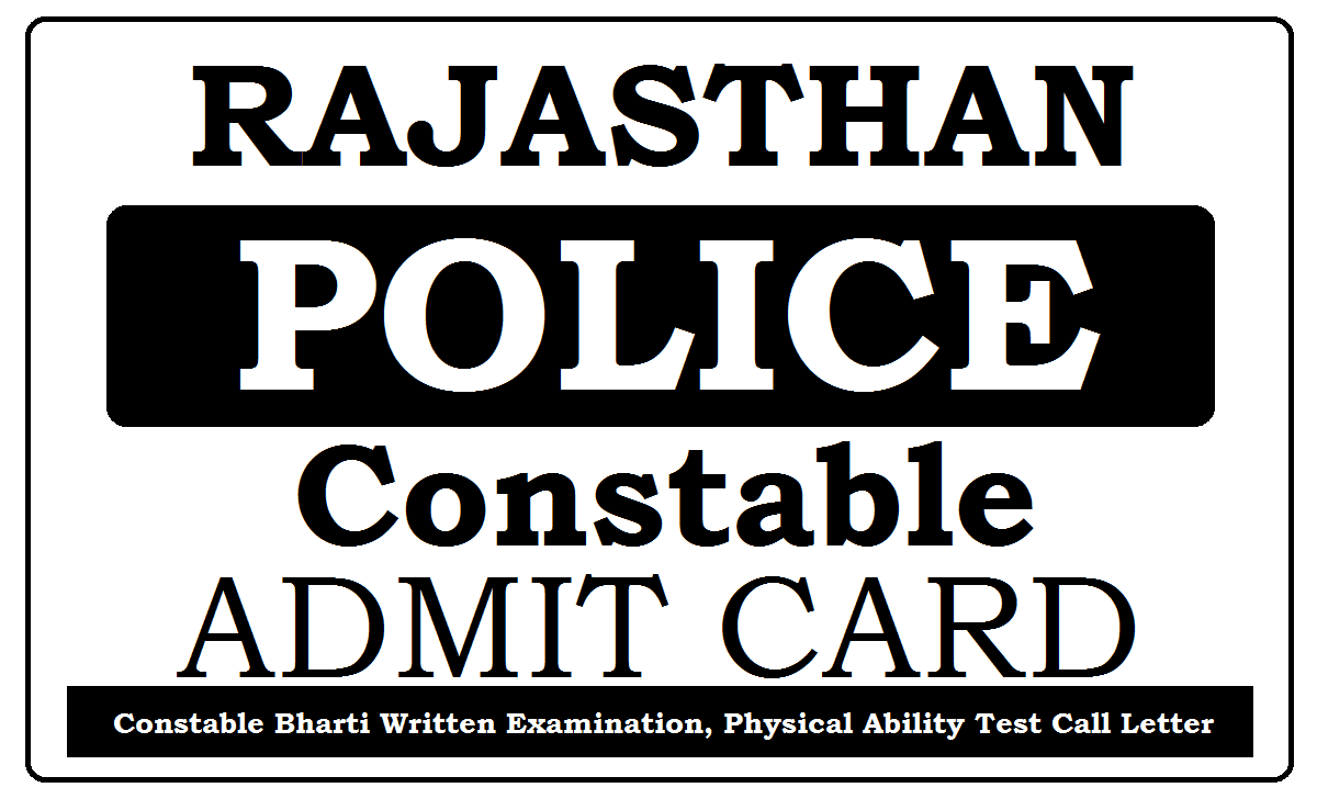 Rajasthan Constable Admit Card 2021