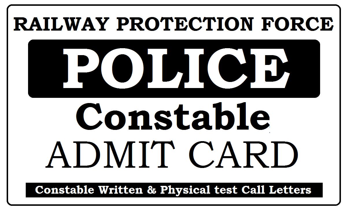 RPF Constable Admit Card 2021