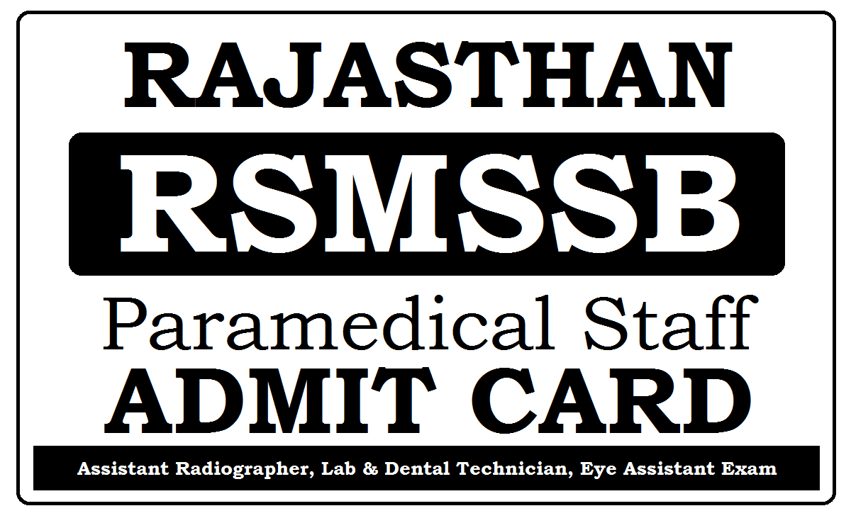 RSMSSB Para-Medical Staff Admit Card 2021