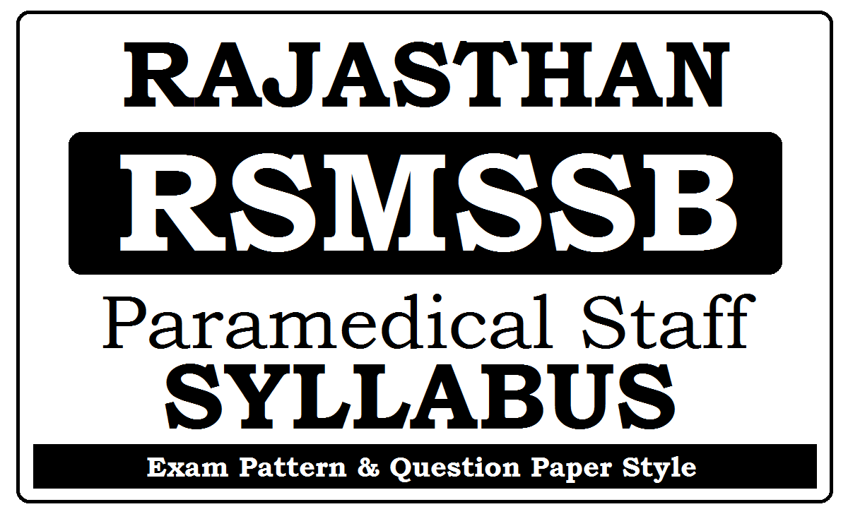 RSMSSB Paramedical Staff Syllabus 2020